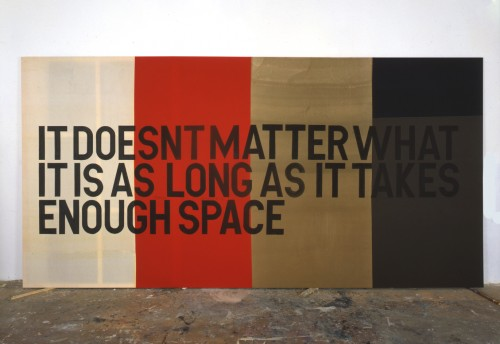 »Enough Space«, 2006<br />Ink on fabric, 300 x 600 cm<br />