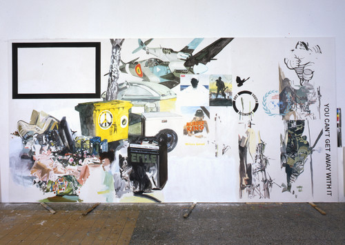 <i>You can´t get away with it</i>,       2006<br />      Acrylic on cotton,        300 x 600 cm<br />