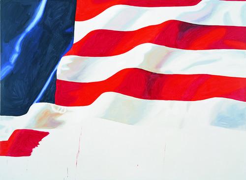 <i>stripes, no stars</i>,       2006<br />      acrylic on canvas,        220 x 300 cm<br />
