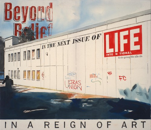 »Beyond Belief«, 2015<br />gouache on canvas, 95 x 110 cm<br />