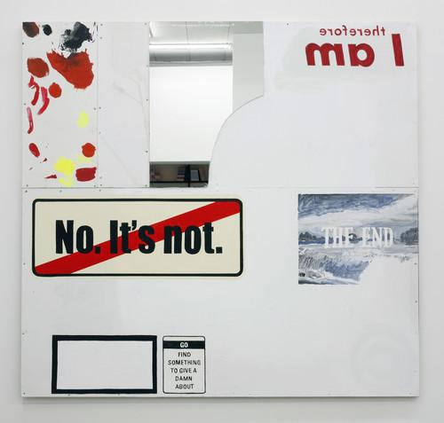 <i>It's necessary</i>,       2010<br />      Acrylic ink and mixed media on plywood aluminium and mirror,        180 x 190 cm<br />