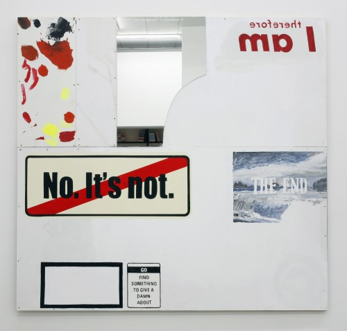 »It's necessary«, 2010<br />Acrylic ink and mixed media on plywood aluminium and mirror, 180 x 190 cm<br />