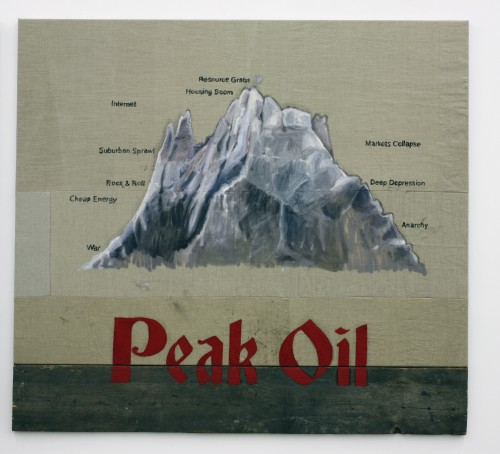 »Peak Oil«, 2010<br />Oil paint on canvas, wood, 170 x 156 cm<br />