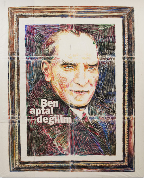 <i>Ich bin doch nicht blöd</i>,       2011<br />      Oil pastel on cotton,        250 x 200 cm<br />
