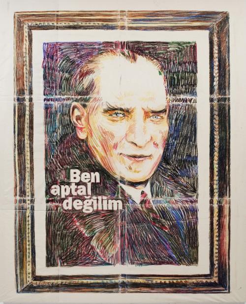 »Ich bin doch nicht blöd«, 2011<br />Oil pastel on cotton, 250 x 200 cm<br />