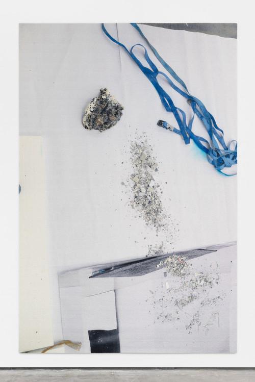 »eye/eyes (Bond)«, 2016<br />carpet, jesmonite, pigments, oil stick, silicone, 300 x 200 cm<br />
