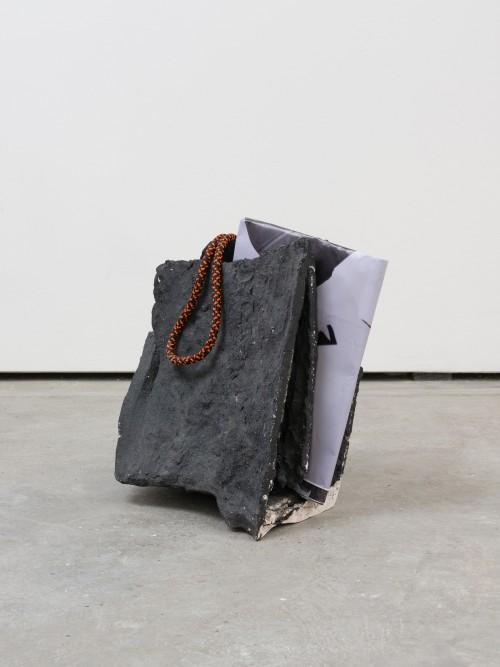 »mid fall 3«, alternate view<br />porcelain, black grog, paper, rope, 56 x 48 x 40 cm<br />