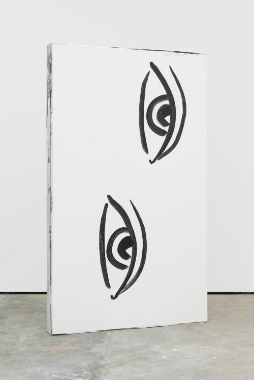 »remnant 1«, 2016<br />acrylic on canvas, jesmonite, pigments, wood, 227 x 136 x 17 cm<br />