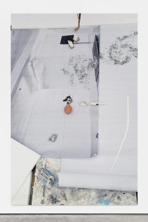 »eye/eyes (Ever Build)«, 2016<br />carpet, jesmonite, pigments, oil stick, 300 x 200 cm<br />