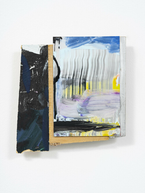MARY RAMSDEN<br /><i>Jordan</i>, 2020<br />Oil paint, acrylic, board and mirror panel, 17 x 18 cm<br />