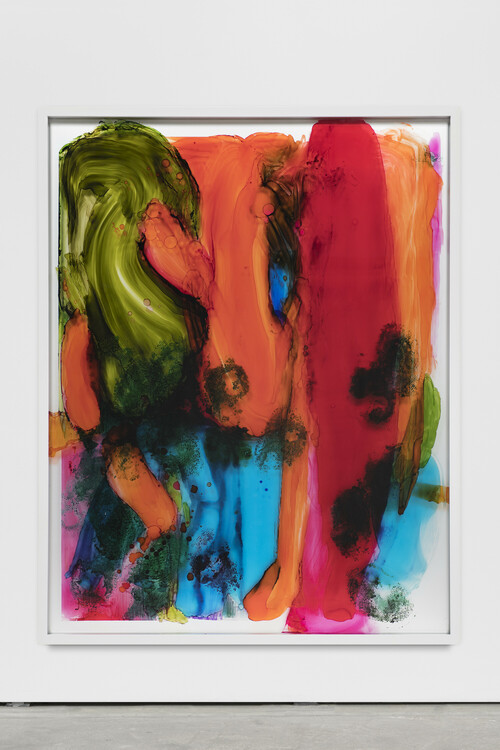 DAVID RENGGLI<br /><i>I Love You Painting (Finger Linger Us</i>, 2017<br />Ink and acrylic behind glass, aluminium, 160 x 125 cm<br />