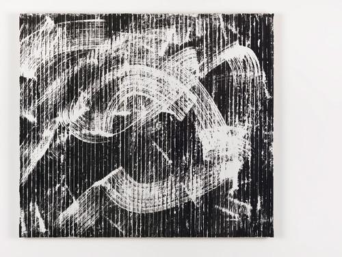 <i>Weißes R. Daniëls Bild (in der Reihe - Orphische Schatten (Orpheus + Eurydike (Gluck))</i>, 2015<br />cassette tape, adhesive tape and acrylic paint on canvas, 107 x 122 cm<br />