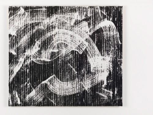 »Weißes R. Daniëls Bild (in der Reihe - Orphische Schatten (Orpheus + Eurydike (Gluck))«, 2015<br />cassette tape, adhesive tape and acrylic paint on canvas, 107 x 122 cm<br />