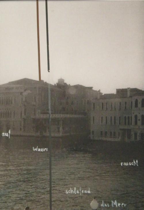 »Im Raum (auf Wasser...)«, 2005<br />cassette tape on ink jet print, 53 x 41 cm (framed)<br />