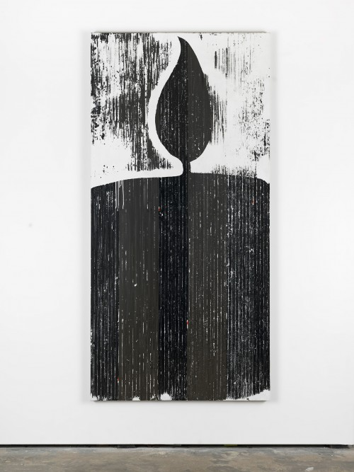 »dunkle Kerze (Orpheus + Eurydike (Gluck))«, 2015<br />cassette tape, adhesive tape and acrylic paint on canvas, 211 x 103 cm<br />