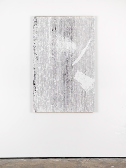 <i>An Stelle des Fensters (Orpheus und Eurydike – Gluck (Orphische Schatten))</i>, 2015<br />cassette tape, adhesive tape and acrylic paint on canvas, 145 x 95 cm<br />