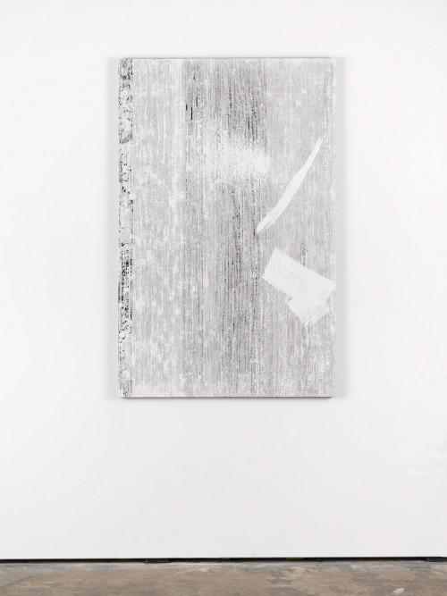 »An Stelle des Fensters (Orpheus und Eurydike – Gluck (Orphische Schatten))«, 2015<br />cassette tape, adhesive tape and acrylic paint on canvas, 145 x 95 cm<br />