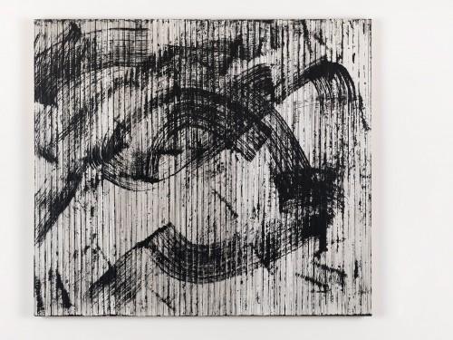 »Dunkles R. Daniëls Bild (Orpheus + Eurydike (Gluck))«, 2015<br />cassette tape and acrylic paint on canvas, 107 x 122 cm<br />