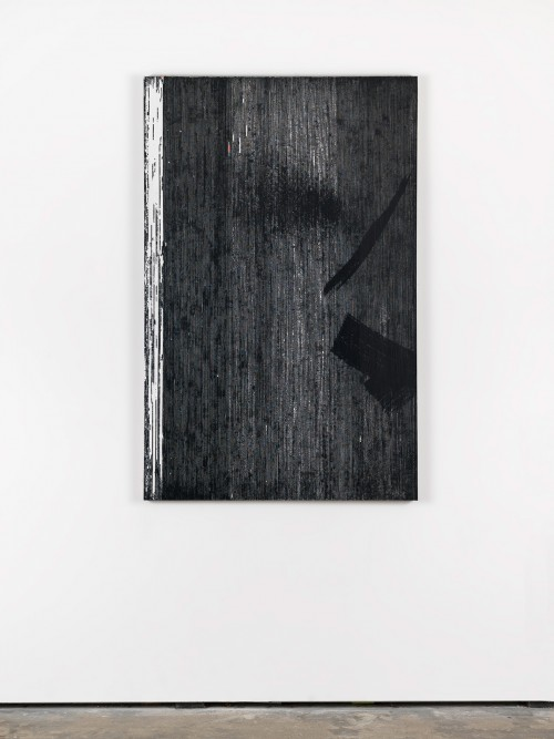 »Dunkel an Stelle des Fensters (Orphische + Eurydike – Gluck)«, 2015<br />cassette tape and acrylic paint on canvas, 145 x 95 cm<br />