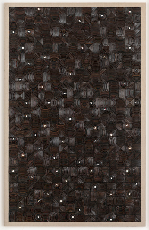 <i>und dann auf Sterne sehn</i>, 2015<br />cassette tape, cassette wheels and canvas on wood, 274 x 174 cm<br />