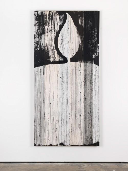 »weiße Kerze (Orpheus und Eurydike (Gluck))«, 2015<br />cassette tape and acrylic paint on canvas, 211 x 103 cm<br />