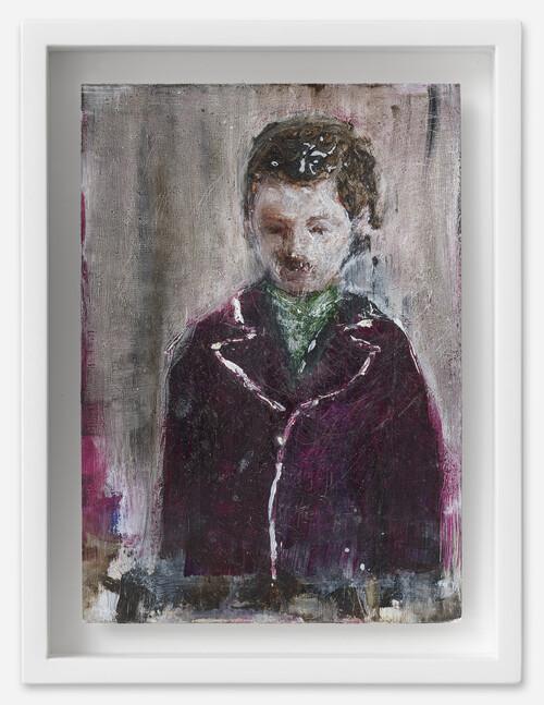 <i>Mann in Mantel</i>, 2021<br />oil on postcard, 18 x 13,5 cm (framed)<br />
