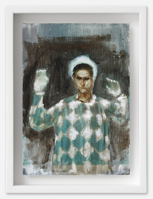 <i>Clown in Grün</i>, 2021<br />oil on postcard, 18 x 13,5 cm (framed)<br />