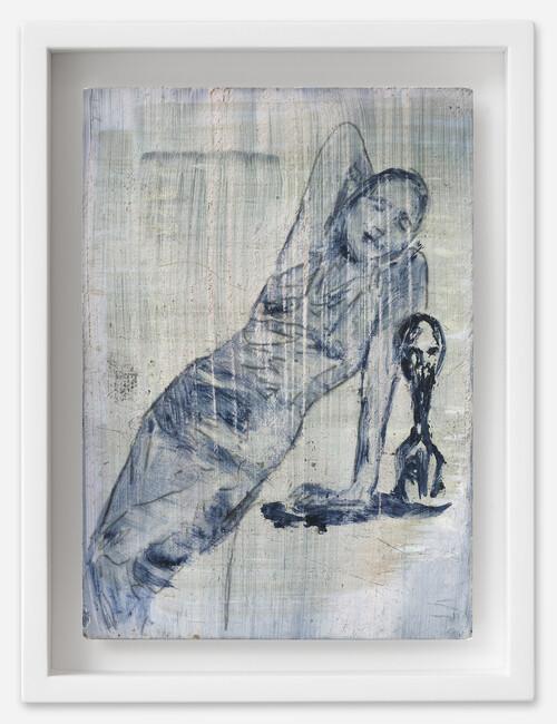 <i>Posierende</i>, 2021<br />oil on postcard, 18 x 13,5 cm (framed)<br />