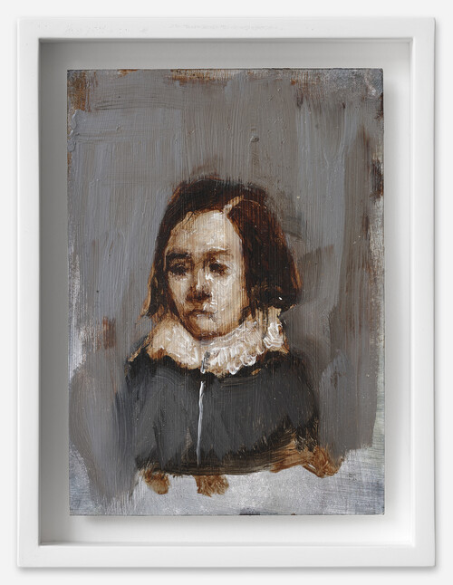 <i>Knabe mit Kragen</i>, 2021<br />oil on postcard, 18 x 13,5 cm (framed)<br />