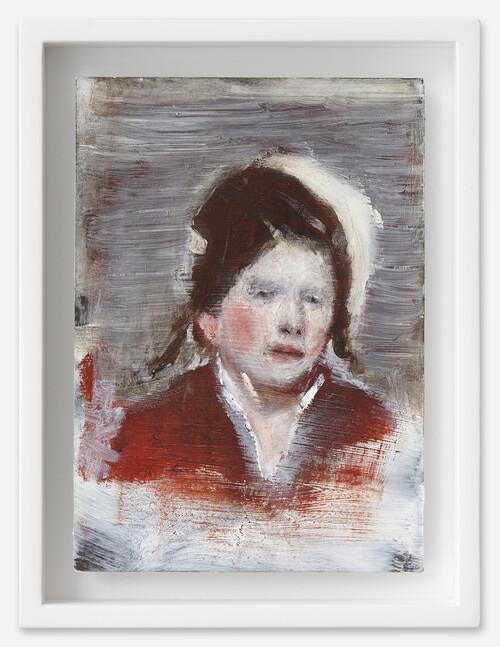 <i>Emerentia</i>, 2021<br />oil on postcard, 18 x 13,5 cm (framed)<br />