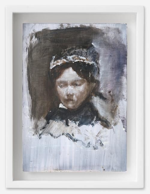 <i>Adele</i>, 2021<br />oil on postcard, 18 x 13.5 cm (framed)<br />