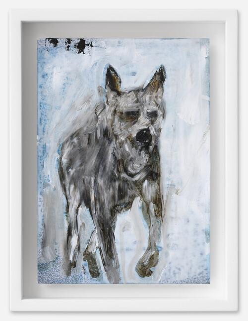 <i>Hund</i>, 2021<br />oil on postcard, 18 x 13,5 cm (framed)<br />