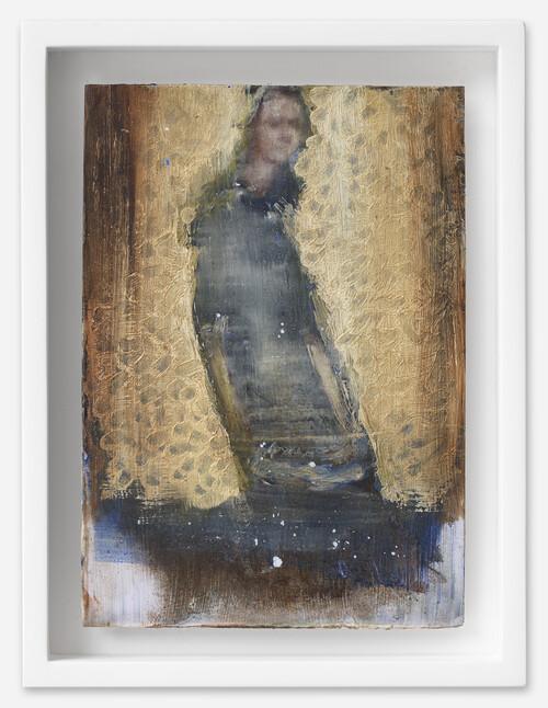 <i>Emmanuelle</i>, 2021<br />oil on postcard, 18 x 13,5 cm (framed)<br />