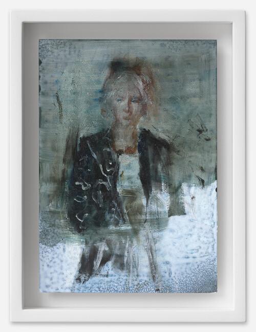 <i>Laeticia</i>, 2021<br />oil on postcard, 18 x 13,5 cm (framed)<br />