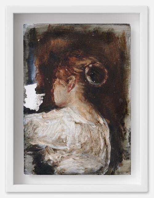 <i>Anna</i>, 2021<br />oil on postcard, 18 x 13,5 cm (framed)<br />