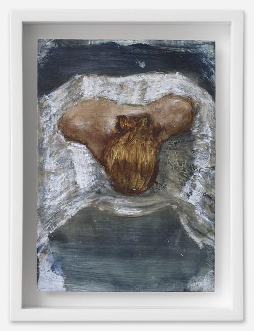 <i>Frau in Tutu</i>, 2021<br />oil on postcard, 18 x 13,5 cm (framed)<br />