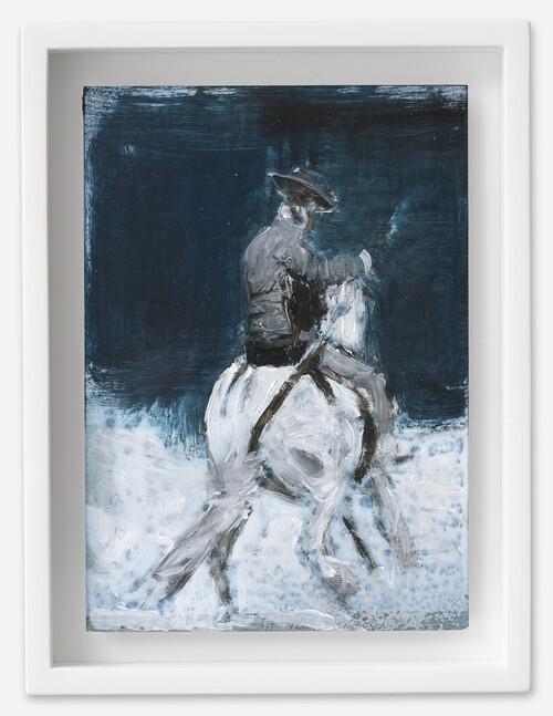 <i>Picadeur</i>, 2021<br />oil on postcard, 18 x 13,5 cm (framed)<br />