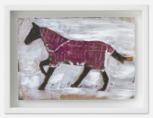 <i>Pferd mit Decke</i>, 2021<br />oil on postcard, 13,5 x 18 cm (framed)<br />