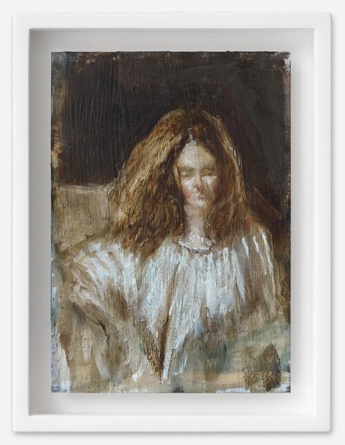 <i>Mercedés</i>, 2021<br />oil on postcard, 18 x 13,5 cm (framed)<br />