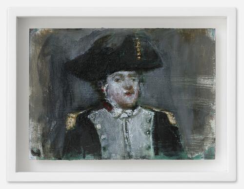 <i>General</i>, 2021<br />oil on postcard, 13,5 x 18 cm (framed)<br />