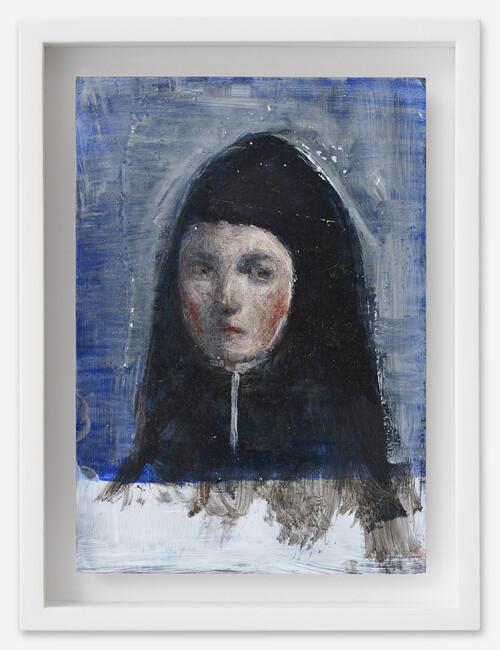 <i>Mädchen in Nonnenkostüm</i>, 2021<br />oil on postcard, 18 x 13,5 cm (framed)<br />