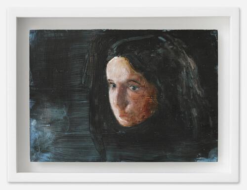 <i>Ana</i>, 2021<br />oil on postcard, 13,5 x 18 cm (framed)<br />