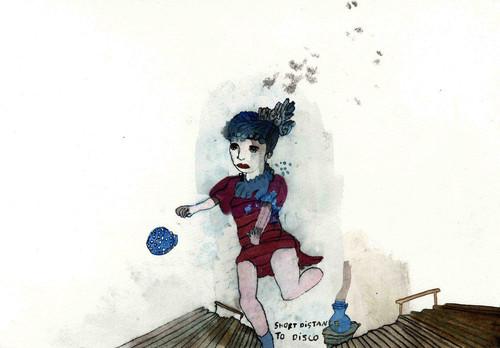 CHRISTINE REBET<br /><i>Short distance disco</i>, 2006<br />ink on paper, 26 x 34 cm<br />