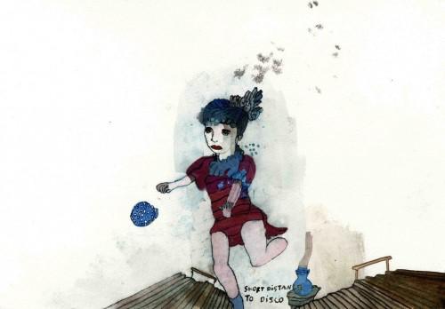 CHRISTINE REBET<br />»Short distance disco«, 2006<br />ink on paper, 26 x 34 cm<br />