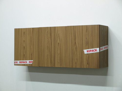 KAZ OSHIRO<br /><i>Three Door Cabinet (Repack Tape)</i>, 2010<br />acrylic on canvas, 116 x 30 x 51 cm<br />