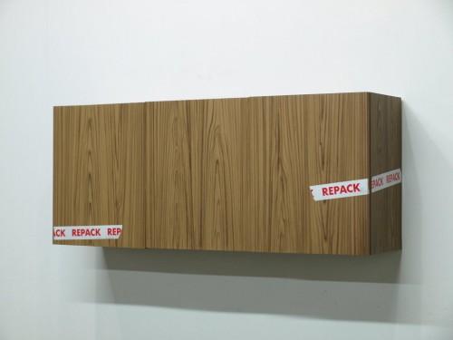 KAZ OSHIRO<br />»Three Door Cabinet (Repack Tape)«, 2010<br />acrylic on canvas, 116 x 30 x 51 cm<br />