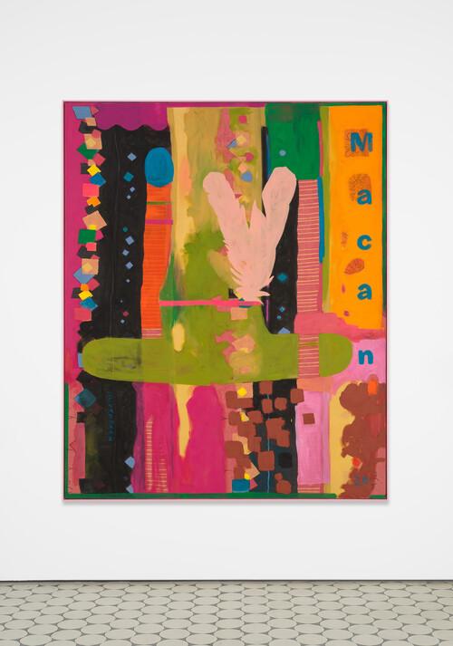 <i>SUV Painting (Medicin Macan)</i>, 2020<br />acrylic on bedsheet, framed, 187.5 x 152.5 x 5 cm<br />