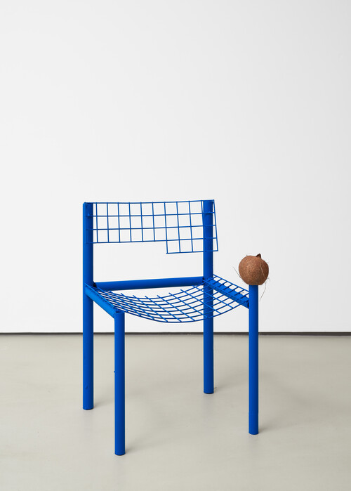 <i>Sitzmöbel (seating furniture / blue chair coconut)</i>, 2020<br />powder coated metal, coconut, 77 x 45 x 54 cm<br />