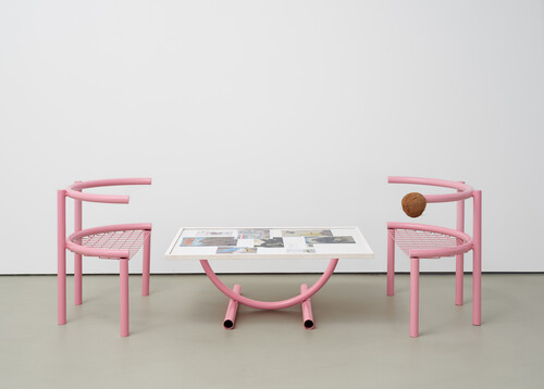 <i>Sitzmöbel (seating furniture / pink ensemble)</i>, 2020<br />powder coated metal, print and sketches on paper, glas, framed, table 39 x 163 x 73 cm / each chair 69 x 40 x 80 cm<br />