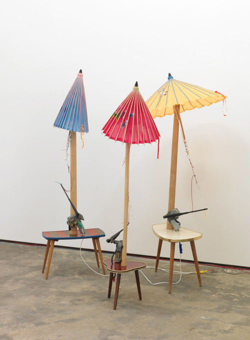 »Dennis,Sharon and Jack (aus der Serie Umbrellators)«, 2011<br />mixed media, 150 x 90 x 90 cm, 145 x 80 x 80 cm and 150 x 80 x 80 cm<br />